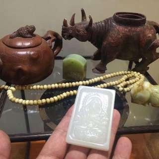 白玉牌,青玉印,玉雕犀,老紫砂
