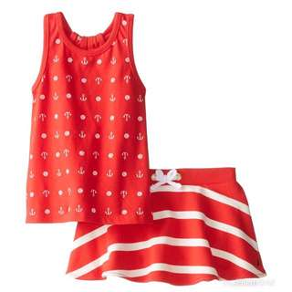 Nautica Baby Girls' Printed Tank Top and Striped French Terry Skirt Set, Red, 18 Months