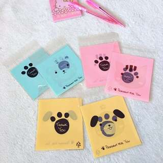 50pcs x 10*10cm+3cm Paw Self Adhesive Cookies Bag