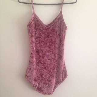 Velvet Highcut Pink Bodysuit