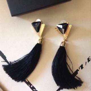 💍black/gold tassel earrings💍