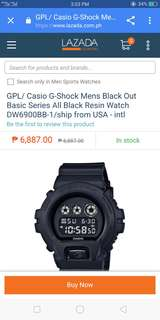 Casio gshock black out basic series all black resin watch