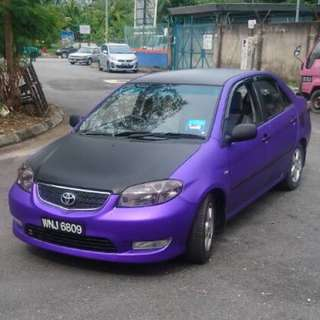 Car Wrap Purple Matte Chrome + Matte Black ( Vios / Done ) ✅