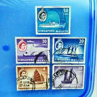 Stamp Singapore Malaya: 1955 Queen Elizabeth II  short definitives 5v
