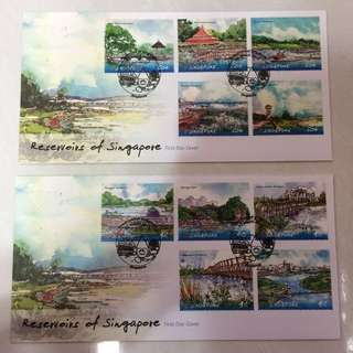 FDC First Day Cover - Singapore 2012 - Reservoirs of Singapore Stamps (set of 2 covers)
