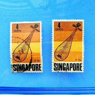 Stamp Singapore year 1969: Traditional musical instruments - Pi Pa