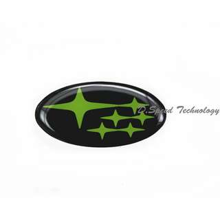 Subaru斯巴魯 WRX STI 方向盤標 (黑底綠星)