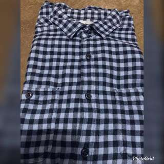 ❗️Repriced❗️UNIQLO Blue Checkered Long-sleeves Polo