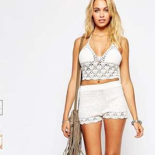 ASOS Crochet Shorts - ivory