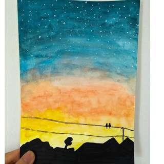 Watercolour Sunset Artwork