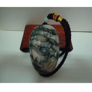 🚚 天地 藝品 天然 正 A 貨 正料 新疆 蛇紋 玉 巧雕 ( 歡喜 財神 ) 珍玩 手 把件 K287 珍藏 品 割愛 !