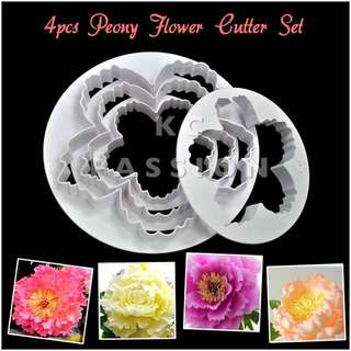 🌸 4PCS PEONY FLOWER CUTTER MOLD SET  Cake Decorating Tool for Cookies • Fondant Cake & Cupcake • Bread Dough • Pastry • Sugar Craft • Jelly • Gum Paste • Polymer Clay Art Craft •