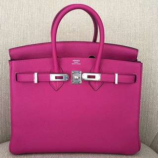 Authentic Hermes birkin 25 rose pourpre togo phw stamp A