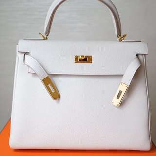 Authentic Hermes kelly 28 craie togo ghw stamp T