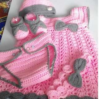 Crochet handmade Baby Dress Set