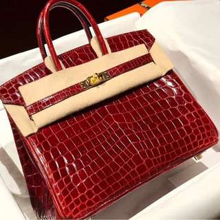 Authentic Hermes birkin 25 bourgogne niloticus shiny ghw stamp A