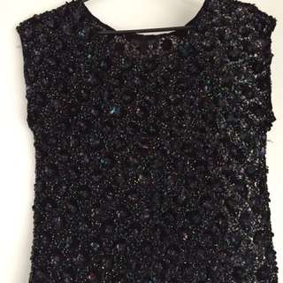 TOPSHOP Sequinned Top - size 6