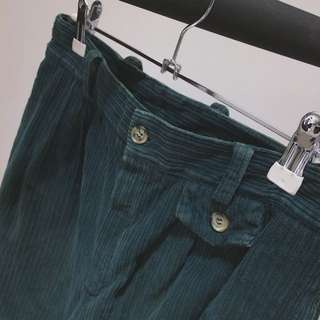 Green Village®✼深綠燈心絨長褲✼棉質 粗坑條 中腰小直筒 boylish中性 日本 vintage古着