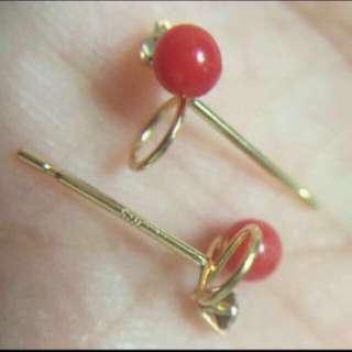 日本製 K18 天然珠 迷你耳釘  Made In Japan  100% Real 18K Yellow Gold Mini Size Stud Earring