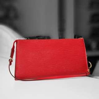 Authentic Louis Vuitton Red Epi Leather Pochette Accessories LV