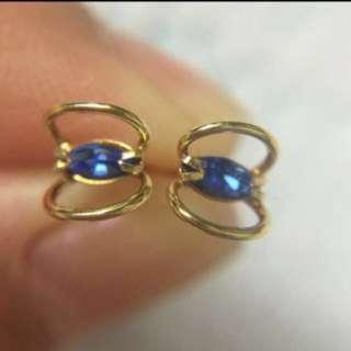 日本製 K18 藍色鋯石 迷你耳釘  Made In Japan  100% Real 18K Yellow Gold Mini Size Stud Earring