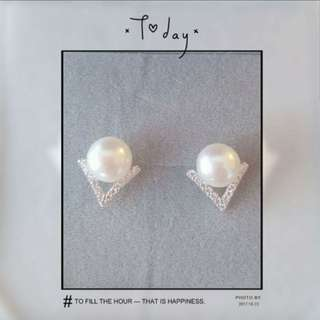 7mm ~ 8mm 淡水珍珠純銀耳環