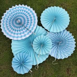 6pc Party Paper Fans Rosette Set - Blue