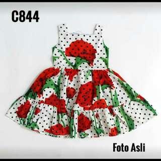 Dress polka bunga merah