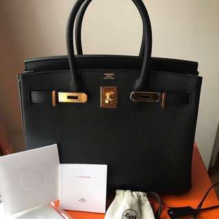 Authentic Hermes birkin 30 black epsom ghw stamp A