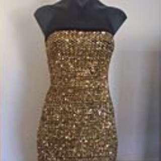 mini dress gold