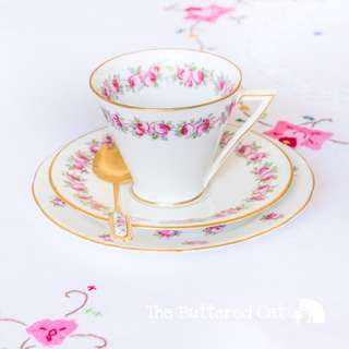 Shabby chic antique art deco English bone china tea trio, hand-decorated pink ditsy roses