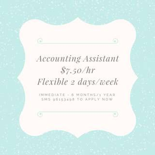 Part Time Accounting Assistant (Flexible 2days/week) Immediate - 6 months/1 year