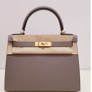 Authentic hermes kelly 28 griss asphalte epsom sellier ghw A