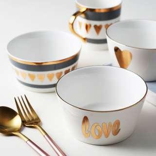 PO Gold Heart Design Breakfast Bowl