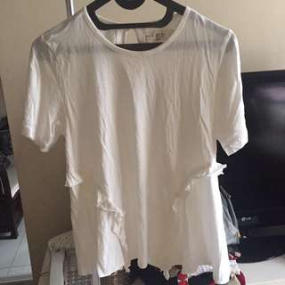 XSML Kaos Wanita Flare Top Putih Size L