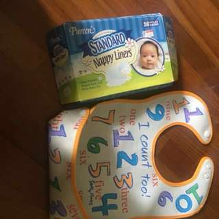 Preloved bip ( can be used till 5 year child ) and nappy liners(only 5 pieces used )rattle