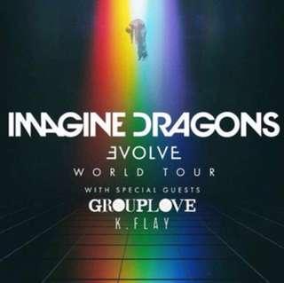 2 IMAGINE DRAGON's evolve world tour ticket