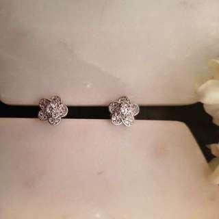 Sterling silver 'Winter Roses' earrings