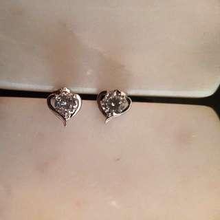 Sterling silver 'Luminous Heart' earrings