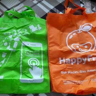 Kantong belanja Happy Fresh bahan kain tebal ukuran kurleb 50 x 30cm