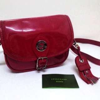 Longchamp 漆皮 紅色小包 斜背包