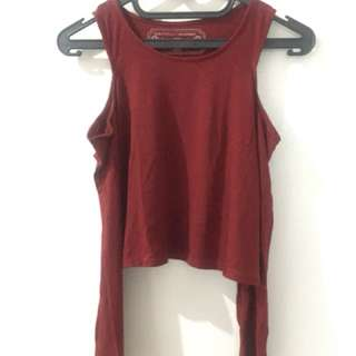 crop tee cut shoulder red