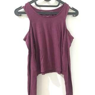 crop tee cut shoulder purple