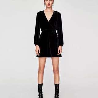 Zara 同款V领性感修身顯瘦黑裙