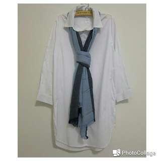 純白開衩長版襯衫連身裙