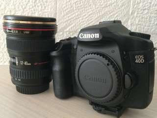 Jual Canon EOS 40D bundle w/ Canon 17-40mm f1.4 L Lens