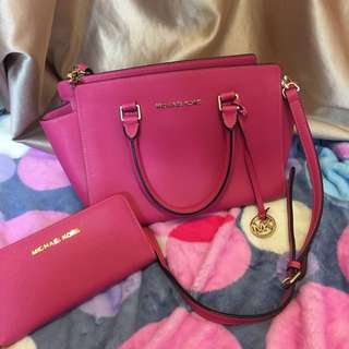 Michael kors pink wallet and bag