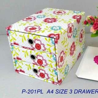 北歐風-莉莉花A4尺寸三抽盒