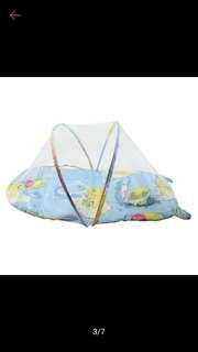 Baby cotton padded mattress with mosquito net