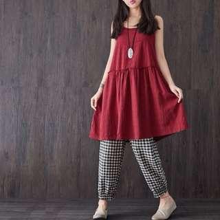 (降價)日系 森林系 小清新 棉麻 酒紅 可調式 吊帶裙 洋裝 裙子 連衣裙 背心裙